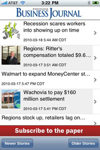 Birmingham Business Journal iPhone app