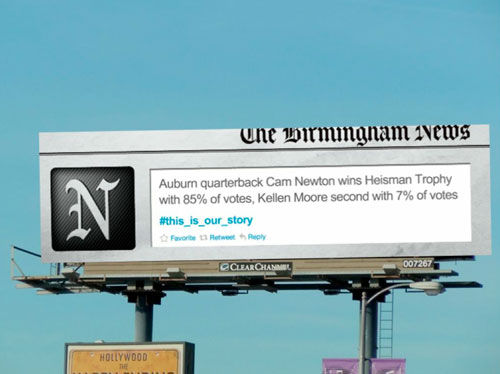 Birmingham News - Twitter billboard